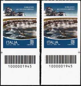 Le sorgenti di Cassano Irpino - coppia di francobolli con codice a barre n° 1945 in BASSO a destra-sinistra