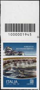 Le sorgenti di Cassano Irpino - francobollo con codice a barre n° 1945 in ALTO a destra