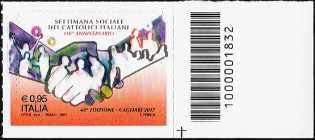 Settimana sociale dei Cattolici italiani - francobollo con codice a barre n° 1832