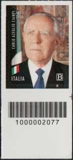 Carlo Azeglio Ciampi - Centenario della nascita - francobollo con codice a barre n° 2077 in BASSO a destra