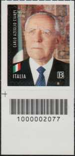 Carlo Azeglio Ciampi - Centenario della nascita - francobollo con codice a barre n° 2077 in BASSO a sinistra
