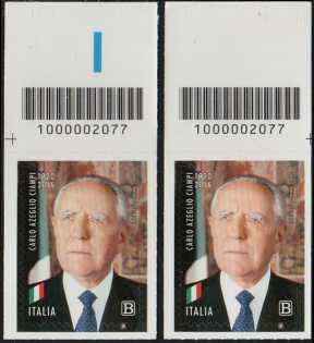Carlo Azeglio Ciampi - Centenario della nascita - coppia di francobolli con codice a barre n° 2077 in ALTO destra-sinistra