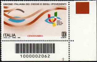 Unione Italiana dei Ciechi e degli Ipovedenti - Centenario della fondazione - francobollo con codice a barre n° 2062 in BASSO a destra