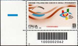 Unione Italiana dei Ciechi e degli Ipovedenti - Centenario della fondazione - francobollo con codice a barre n° 2062 in BASSO a sinistra