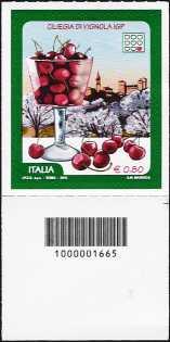 Le eccellenze del sistema produttivo ed economico - Ciliegia di Vignola IGP  - francobollo con codice a barre n° 1665