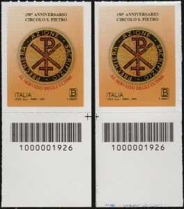 Circolo San Pietro - 150° Anniversario della fondazione - coppia di francobolli con codice a barre n° 1926 in BASSO destra-sinistra