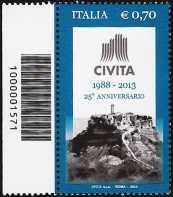 Italia 2013 - 25° Anniversario dell'Associazione Civita  - codice a barre n° 1571