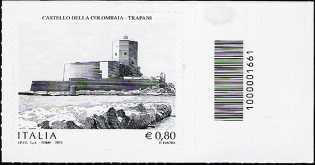 Castello della Colombaia   - Trapani - francobollo con codice a barre n° 1661
