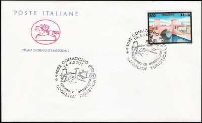 2001 - Turistica -  Comacchio ( FE )  - FDC  CAVALLINO - Annullo ufficio postale Comacchio