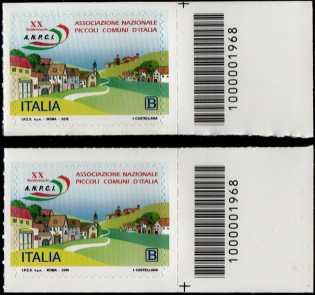 Associazione Nazionale dei Piccoli Comuni d'Italia - 20° Anniversario della costituzione - coppia di francobolli con codice a barre n° 1968  a  DESTRA  alto-basso