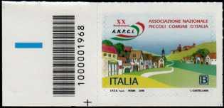 Associazione Nazionale dei Piccoli Comuni d'Italia - 20° Anniversario della costituzione - francobollo con codice a barre n° 1968  a  SINISTRA  in  basso