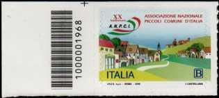 Associazione Nazionale dei Piccoli Comuni d'Italia - 20° Anniversario della costituzione - francobollo con codice a barre n° 1968  a  SINISTRA  in  alto