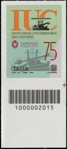 Istituzione Universitaria dei Concerti - Roma - 75° Anniversario della fondazione - francobollo con codice a barre n° 2015 in BASSO a destra