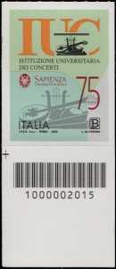 Istituzione Universitaria dei Concerti - Roma - 75° Anniversario della fondazione - francobollo con codice a barre n° 2015 in BASSO a sinistra