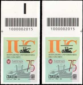 Istituzione Universitaria dei Concerti - Roma - 75° Anniversario della fondazione - coppia di francobolli con codice a barre n° 2015 in ALTO sinistra-destra