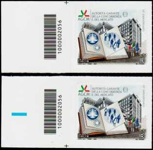 30° Anniversario dell'Autorità della Concorrenza e del Mercato - coppia di francobolli con codice a barre n° 2056 a SINISTRA alto-basso