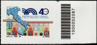 Conferenza delle Regioni e delle Province autonome - 40° Anniversario della fondazione - francobollo con codice a barre n° 2087 a DESTRA in alto