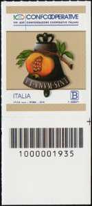 Centenario della istituzione della Confederazione Cooperative Italiane - francobollo con codice a barre n° 1935  in BASSO a destra