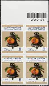 Centenario della istituzione della Confederazione Cooperative Italiane - quartina con codice a barre n° 1935