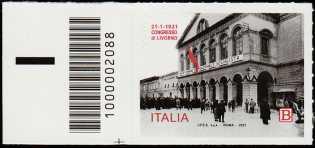 Centenario del Congresso di Livorno - francobollo con codice a barre n° 2088 a SINISTRA in basso