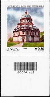 Tempio di Santa Maria della Consolazione - Todi - francobollo con codice a barre n° 1662