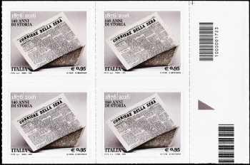 140° Anniversario della fondazione del quotidiano  «Corriere della Sera» - quartina  con codice a barre n° 1723