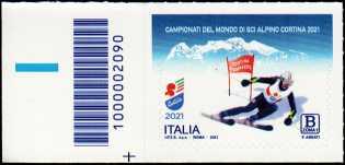Campionati del mondo di sci alpino a Cortina d'Ampezzo - francobollo con codice a barre n° 2090 a SINISTRA in basso