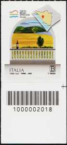 La costa degli etruschi - Toscana - francobollo con codice a barre n° 2018 in BASSO a destra