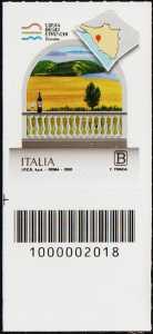 La costa degli etruschi - Toscana - francobollo con codice a barre n° 2018 in BASSO a sinistra