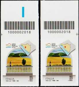 La costa degli etruschi - Toscana - coppia di francobolli con codice a barre n° 2018 in ALTO destra-sinistra