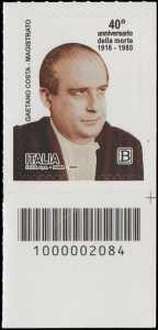 40° Anniversario della morte del magistrato  Gaetano Costa - francobollo con codice a barre n° 2084 in BASSO a destra