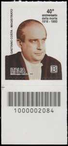 40° Anniversario della morte del magistrato  Gaetano Costa - francobollo con codice a barre n° 2084 in BASSO a sinistra