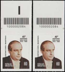 40° Anniversario della morte del magistrato  Gaetano Costa - coppia di francobolli con codice a barre n° 2084 in ALTO sinistra-destra