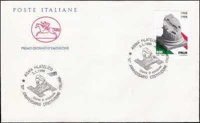 1998 - Costituzione - FDC  CAVALLINO - Annullo ufficiale Roma Filatelico