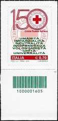 2014 - 150° Anniversario della istituzione della Croce Rossa Italiana - codice a barre n° 1605
