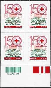 2014 - 150° Anniversario della istituzione della Croce Rossa Italiana - quartina con codice a barre n° 1605