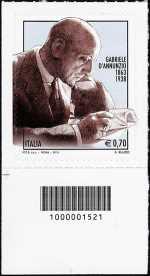 Italia 2013 - 150° Anniversario nascita Gabriele D'Annunzio - codice a barre n° 1521