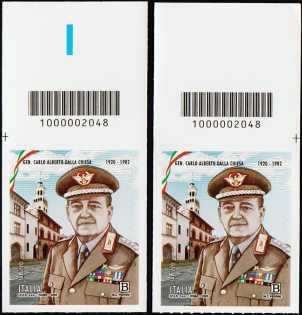 Generale Carlo Alberto Dalla Chiesa - Centenario della nascita - coppia di francobolli con codice a barre n° 2048 in ALTO destra-sinistra