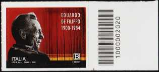 Eduardo de Filippo - 120° Anniversario della nascita - francobollo con codice a barre n° 2020 a DESTRA in basso