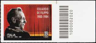 Eduardo de Filippo - 120° Anniversario della nascita - francobollo con codice a barre n° 2020 a DESTRA in alto