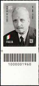 Enrico De Nicola - 60° Anniversario della scomparsa - francobollo con codice a barre n° 1960 in BASSO a sinistra