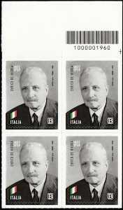 Enrico De Nicola - 60° Anniversario della scomparsa - quartina con codice a barre n° 1960
