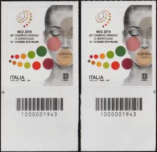 24° Congresso Mondiale di Dermatologia - coppia di francobolli con codice a barre n° 1943  in BASSO destra-sinistra