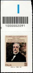 Bicentenario della nascita di Camillo D'Errico - francobollo con codice a barre n° 2091 in ALTO a sinistra