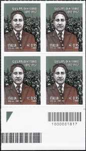 60° Anniversario della scomparsa di Giuseppe Di Vittorio - quartina con codice a barre n° 1817