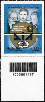 Italia 2012 - 20° anniversario dell'istituzione della DIA - codice a barre n° 1497