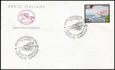 2001 - Turistica -  Diamante  ( CS )  - FDC  CAVALLINO - Annullo ufficio postale Diamante