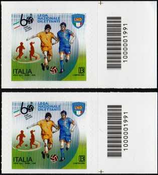 Lega Nazionale Dilettanti - 60° Anniversario della istituzione - coppia di francobolli con codice a barre n° 1991 a DESTRA alto-basso