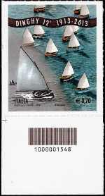 Italia 2013 - Centenario dell' ideazione del Dinghy 12'  - codice a barre n° 1548