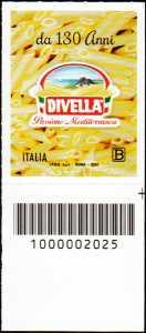 F.  DIVELLA  S.p.A. - 130° Anniversario della fondazione - francobollo con codice a barre n° 2025 in BASSO a destra